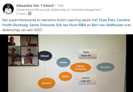 alexandra van t geloof schrijft op LinkedIn dat de wial action learning dag 4 van de action learning coach opleiding super interessant en leerzaam was. ze is weer een stap dichter bij gekomen hoe ze teamperformance kan vergroten en een action learning team kan bouwen.