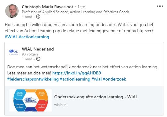 Dit is een bericht van wial action research directeur Christoph Maria Ravesloot met het verzoek bij te dragen aan een wetenschapelijk onderzoek naar de waarde van action learning. Samen eenvoudig vooruit blijven gaan.