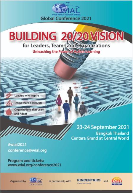 dit is het affiche van de wial global conference 2021 in Bangkok. Samen eenvoudig vooruit blijven gaan.