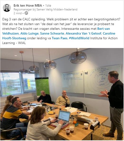 Erik ten Hove schrijft op Linkedin dat dag drie van de wial action learning coach opleiding hele interessante sessies hebben opgeleverd en zijn belangrijkste afdronk van de dag is: de kracht van vragen stellen!