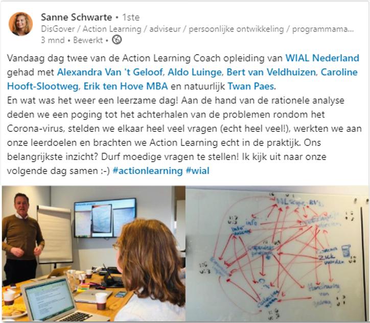 sanne schwartz disgover schrijft op Linkedin haar leerzame dat tijdens de action learning coach opleiding. Haar belangrijkste inzicht: Durf moedige vragen te stellen! dit s de basis in het vergroten van teamperformance en voor het bouwen van action learning teams.