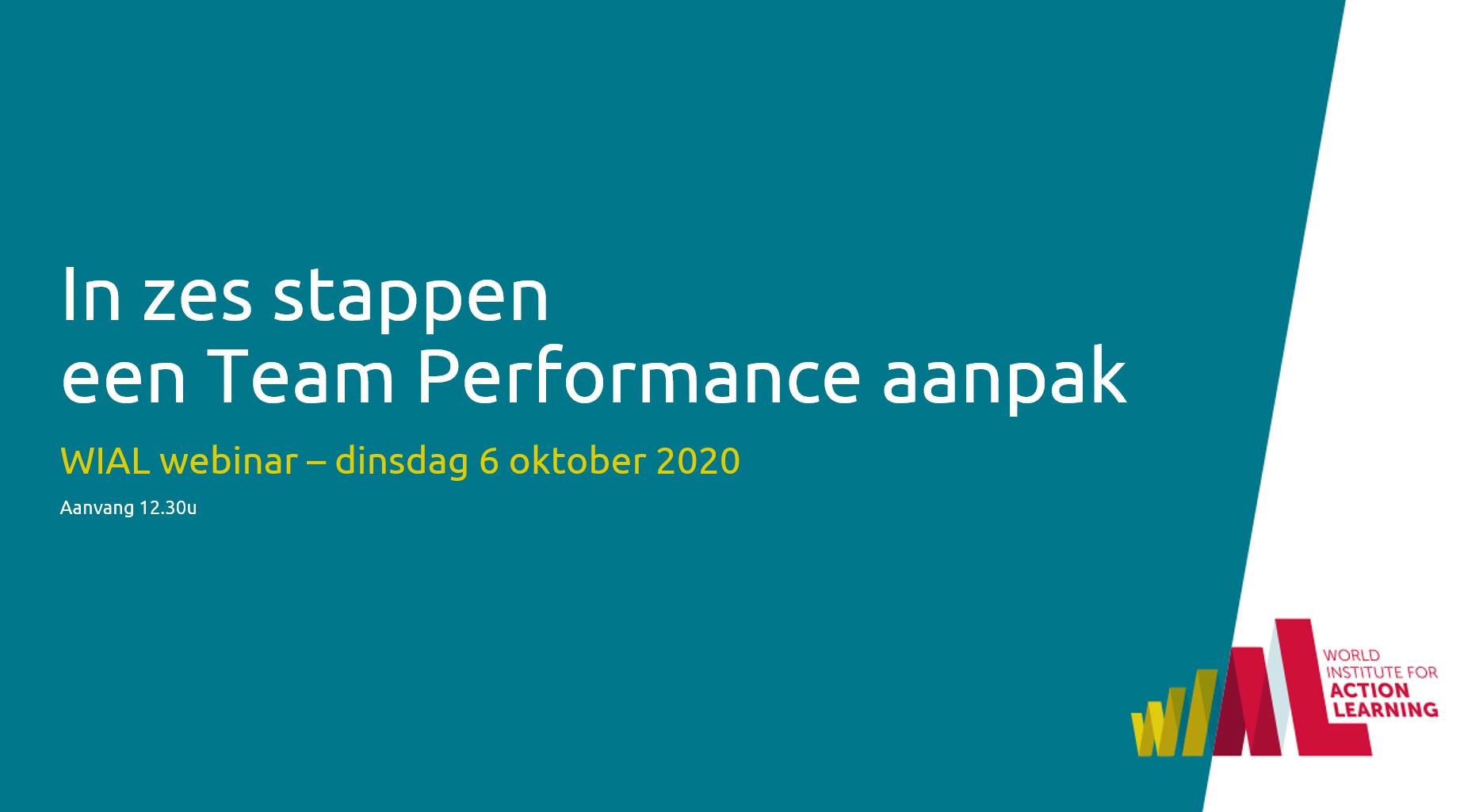 webinar - in zes stappen team performance aanpak - 6 oktober 2020