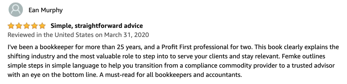 The Profit Advisor Amazon review